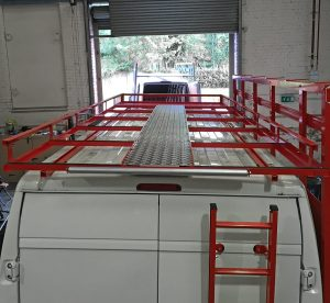 Glazing van leasing with glass racks, roof racks, ladders and internal shelving ready fitted