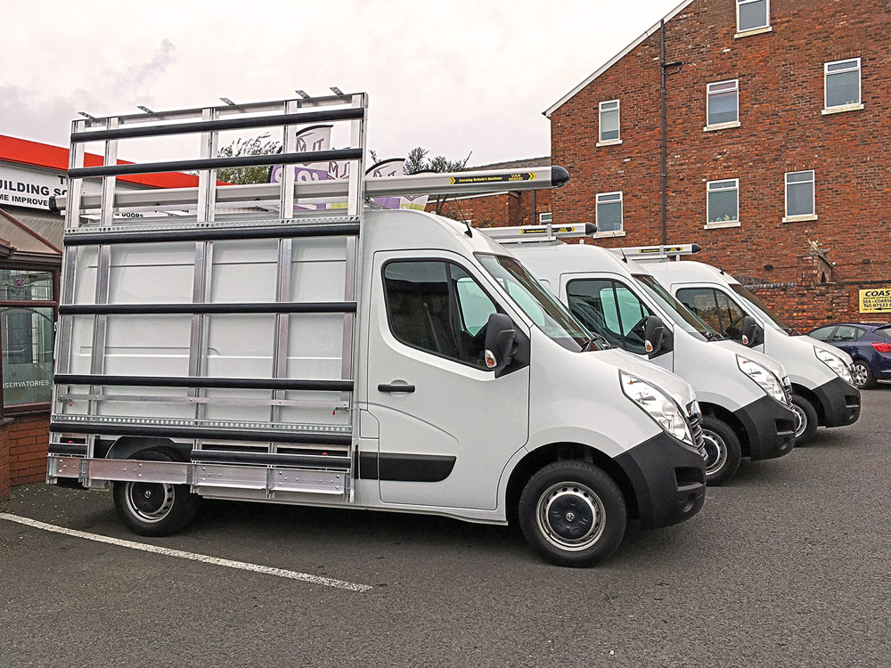 Glazing van leasing with glass racks and internal shelving ready fitted